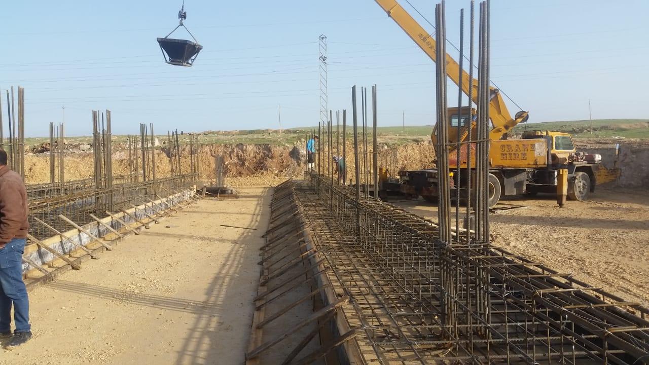 القيام بأعمال صب المرحلة الاولى من اساسات مشروع بناية رئاسة